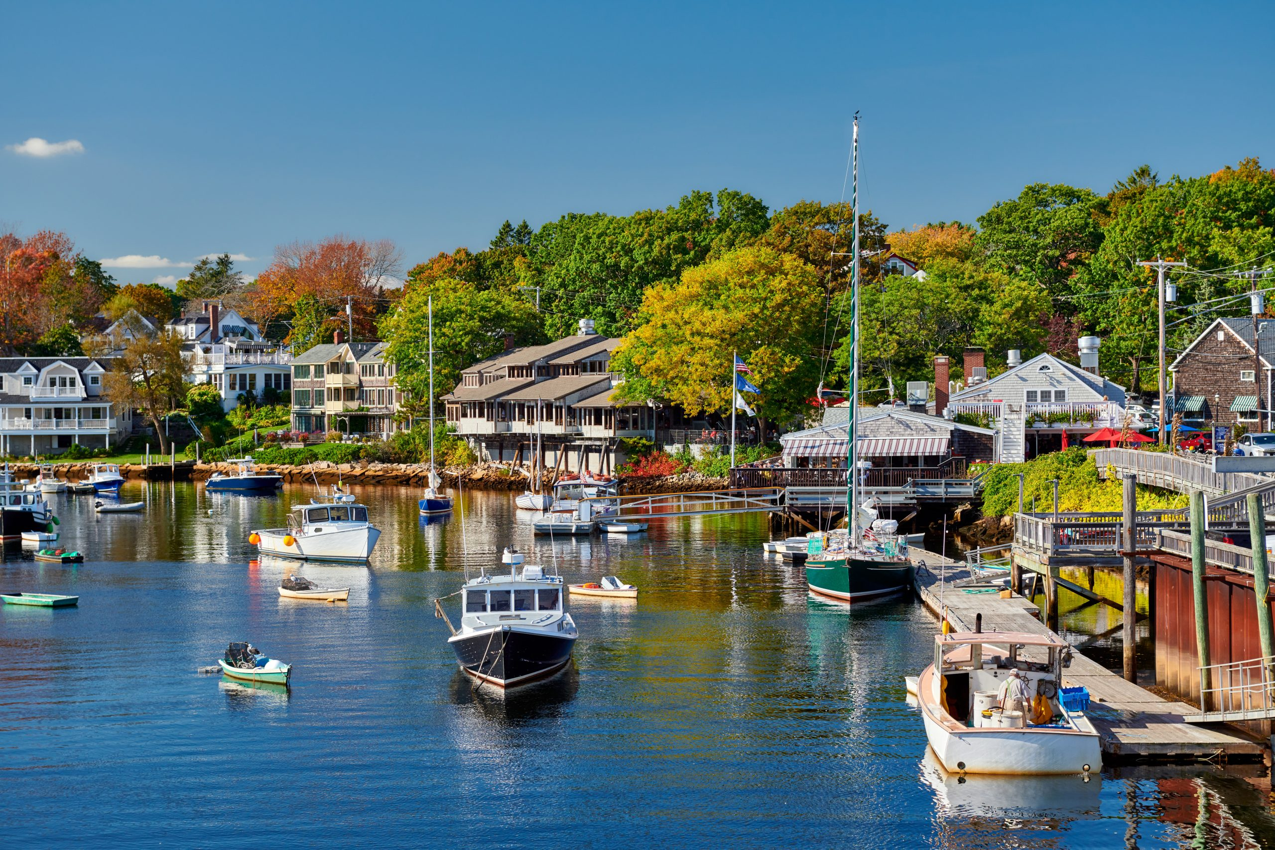 Fishing boats docked in Perkins Cove, Ogunquit, on coast of Maine south of Portland, USA